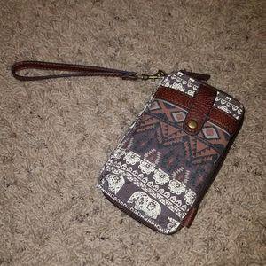 Brown Elephant/Aztec Print Wristlet
